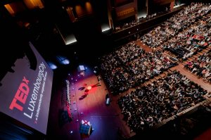 Overhead shot of the audience at the TEDx Luxembourg City event hosted at the Philharmonie building in Kirchberg