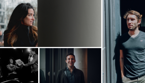Collage of 4 dark and moody portraits photographed in an urban setting for Silicon Luxembourg
