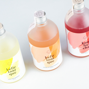 Image of 3 bottles of drinks from the probiotics producer The Happy Guts Company based in Luxembourg