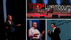 Collage of 4 photos taken on-stage at the TEDx Luxembourg City event inside the Philharmonie in Kirchberg