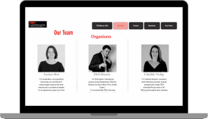 Screenshot of the TEDx Luxembourg City website page of the team, showing three people